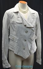 Cabi Jacket Blazer # 325 Waxed Linen light coat Ruffle asymetrical crop M NEW