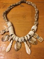 Hand Carved African Bovine Bone & Wood  Necklace Unique Fish carvings