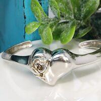 Sterling Silver Heart Rose Cuff Bracelet Gorham Sterling Wedding Jewelry Vtg.