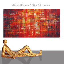 ABSTRACT PAINTINGS # MODERN ART WALL HAND PAINTED CANVAS DECOR ROSSO* 63 x 31