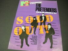 The PRETENDERS Tour Of America 1984 PROMO POSTER AD mint condition