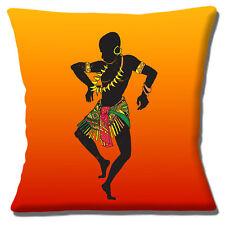 """African tribal Male Danseur 16""""x16"""" 40 cm Housse de coussin ethnique design orange"""