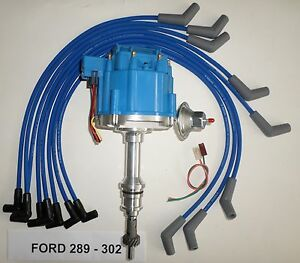 FORD Small Block 221 260 289 302 BLUE HEI Distributor + 8mm Spark Plug wires USA