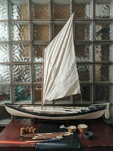 "Gorgeous 38"" Retired Vintage New Bedford Whaling Boat Model Display Saiboat!"