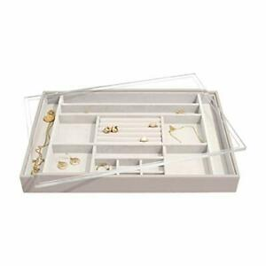 Taupe Supersize Jewellery Box Ring/Accessories Layer With Acrylic