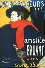 VINTAGE Aristide bruant Tolosa LAUTREC A4 poster stampa