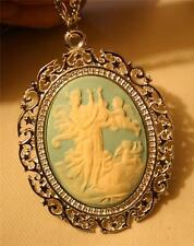 Lovely Swirled Silvertn Blue & Cream Greek Muse with Harp Angels Necklace