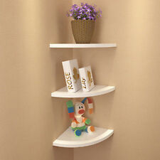SET 3 WHITE FLOATING CORNER WALL SHELF BOOKSHELF SHELVES STORAGE OWNYOURSPACE