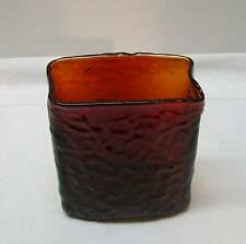 Rectangle Shape Hand Blown Red and Orange Glass Vase Vintage