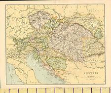 c1890 MAP ~ AUSTRIA ~ BOHEMIA TYROL HUNGARY TRANSYLVANIA BOSNIA