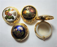 """Cloisonne Enamel Round Hinged Pill Box 1 1/2"""" x 3/4"""" New ONE (1) Vintage 1980's"""