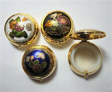 Cloisonne Enamel Round Hinged Pill Box 1 1/2