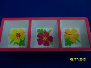 Floral Paradise Warm Tropical Summer Luau Pool Party Melamine Condiment Tray