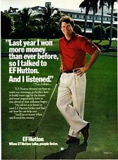 "1980 Golfer Tom Watson photo ""People Listen"" EF Hutton promo print ad"