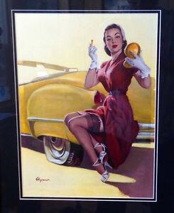 GIL ELVGREN Original Painting ROADSIDE HELP Vancas Cadillac Nylons Pin-Up Framed