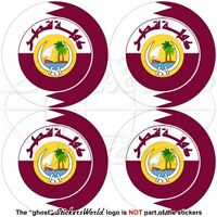 "QATAR Flag-Coat of Arms Roundels, Qatari Vinyl Decals, Stickers 50mm (2"") x4"