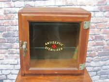 Early Vintage Wood & Glass Antiseptic Sterilizer Counter Top Or Wall Cabinet