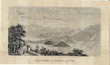 Stampa antica OSSUCCIO ISOLA COMACINA BELLAGIO Lago di Como 1881 Old print