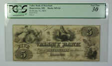 Jan. 31 1855 $5 Valley Bank of Maryland Hagerstown MD PCGS VF30 Haxby MD-245-G6