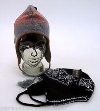 Wintermütze Skimütze Lapplandmütze unisex schwarz- offwhite / grau - orange
