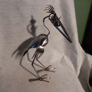 Articulated Signed Welded Spoon Cutlery Metal Steel Bird Art Sculpture Brutalist