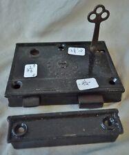 "Rim Lock, Antique w/ KEEPER! 4 1/4"" w   R&E Lock Co"