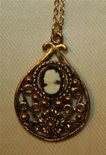 Lovely Open Floral Swirled Goldtone Teardrop Black White Cameo Necklace ++++