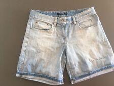 Ladies PORTMANS Denim Shorts Size 9 Light Blue Roll Up Mid Length Distressed