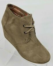 Toms Desert Wedge Womens Ankle Booties Taupe Suede Lace Up Size 7.5