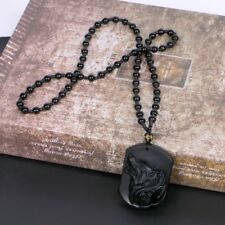 Hand Carved Natural Genuine Obsidian Wolf Howling Head Amulet Pendant Necklace