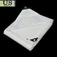 12 mil Heavy Duty Reinforced Canopy Tarp WHITE 3pl Coated Tent Car Boat Cover