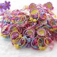 newc 50Pcs Assorted Elastic Rubber Hair Rope Band Ponytail Holder for Kids Girl