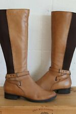 BROWN LEATHER RIDING STYLE BOOTS SIZE 6 / 39 BY NEW LOOK USED CONDITION