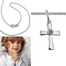 Mädchen Baby Taufe Kommunion Zirkonia rot Kreuz Anhänger mit Kette Silber 925
