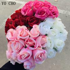 12 Heads Crimped Roses Artificial Silk Flower Bridesmaid Wedding Bouquet Home