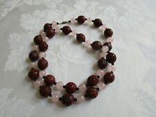 Rare Vintage Chinese Carved Red Cinnabar & Pink Quartz Beaded Necklace SS Clasp