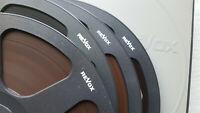 """4 Revox 10,5"""" Spulen 26,5 black reels mit Bandmaterial in Schubern int. 47"""