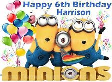 MINIONS DESPICABLE ME - A4 PERSONALISED BIRTHDAY PARTY EDIBLE ICING CAKE TOPPER