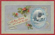 Vintage Embossed Christmas & New Year, U.S.A., Holly silver background     RK751
