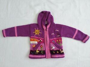 Peruvian babies jacket, girls baby cardigan, 3-6 months baby jumper.