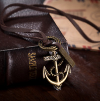 Mens Womens Metal Anchor Pendant Adjustable Brown Leather Rope Necklace #N125