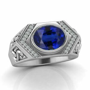 14K White Gold Bold And Brilliant Engagement Solitaire Men's Ring 1.93CT Diamond