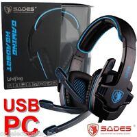 SADES WOLFGANG SA-901 7.1 Surround Sound Headset Noise Reduction Micr PC USB NEW