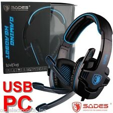 SADES WOLFGANG SA-901 7.1 Surround Sound Headset Noise Reduction Micr PC USB NEW