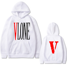 Men Women Vlone Red Big V Sports Hoodie Pullover Hooded Jumper Casual Sweatshirt