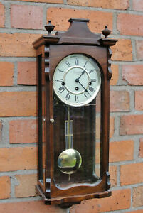 VINTAGE WALL CLOCK with WESTMINSTER CHIMES with its KEY in LOVELY WORKING CNDT