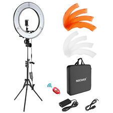 """DSLR Smartphone Shooting 18"""" Dimmable LED Ring Flash Lighting Kit with Stand"""