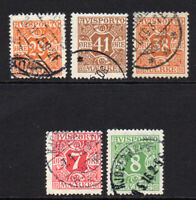 Denmark 5 Newspaper Stamps c1907-15 Used (7404)