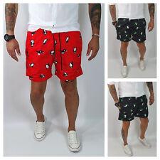 Costume Da Bagno Uomo Da Mare Rosso,Nero Bermuda Pinguini Boxer Pantaloncino