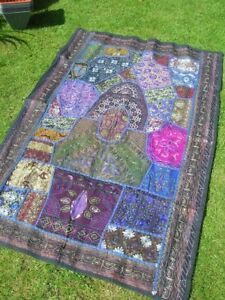SALE Boho Purple Blue Embroidered Beaded WALL HANGING Throw BN 39 x 59ins